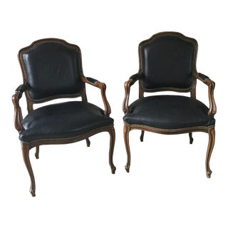 Black Leather Chairs - A Pair