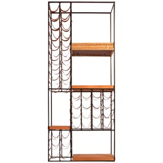 Arthur Umanoff Leather and Iron Wine Rack For Sale