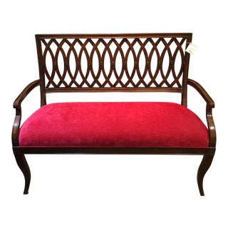 Maitland-Smith Red Upholstered Cherry Bench With Criss Cross Back