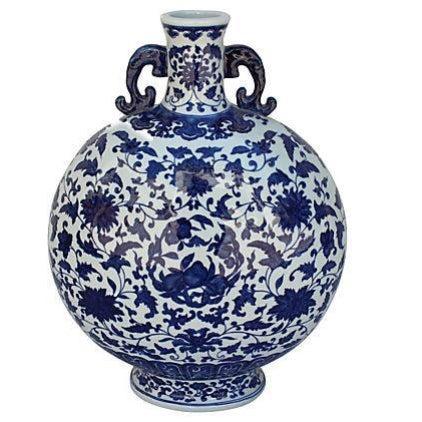 Asian Blue & White Chinoiserie Porcelain Vase For Sale