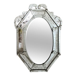 Early 20th Century Etched & Beveled Venetian Mirror For Sale