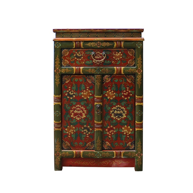 Green Tibetan Oriental GreenYellow Orange Floral End Table Nightstand For Sale - Image 8 of 8
