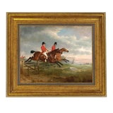 Image of Traditional Taking the Fence Together Fox Hunting Horse Framed Oil Painting Print on Canvas For Sale
