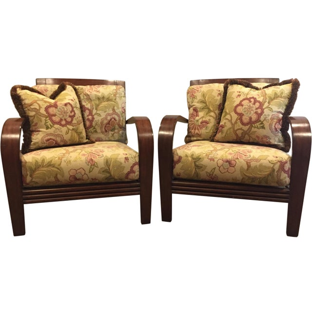 "A beautiful pair of Ethan Allen ""Jamaica"" arm chairs, purchased in 2002 and kept in excellent pre-owned condition. The..."