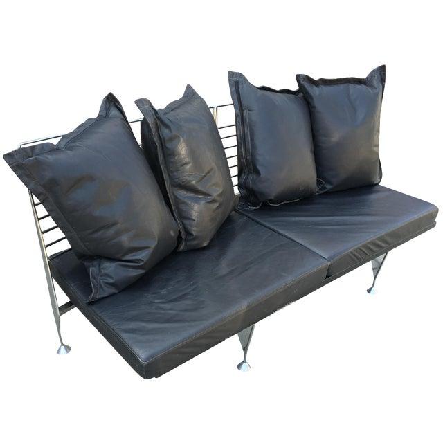 1980s Chrome & Leather Sofa - Image 1 of 11
