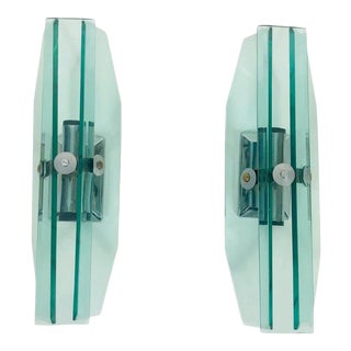 Pair of Glass Wall Lights by Veca, 1970s, Italy For Sale