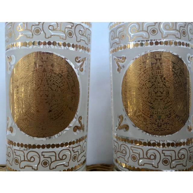 Mid 20th Century Hazel Atlas Frosted and Gilt Aztec Highball Cocktail Glasses - a Pair For Sale - Image 10 of 12