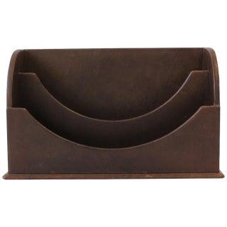 Italian Leather Desk Letter Holder Organizer For Sale