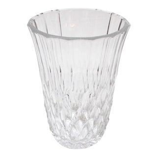 Val St Lambert Diamond Crystal Vase For Sale