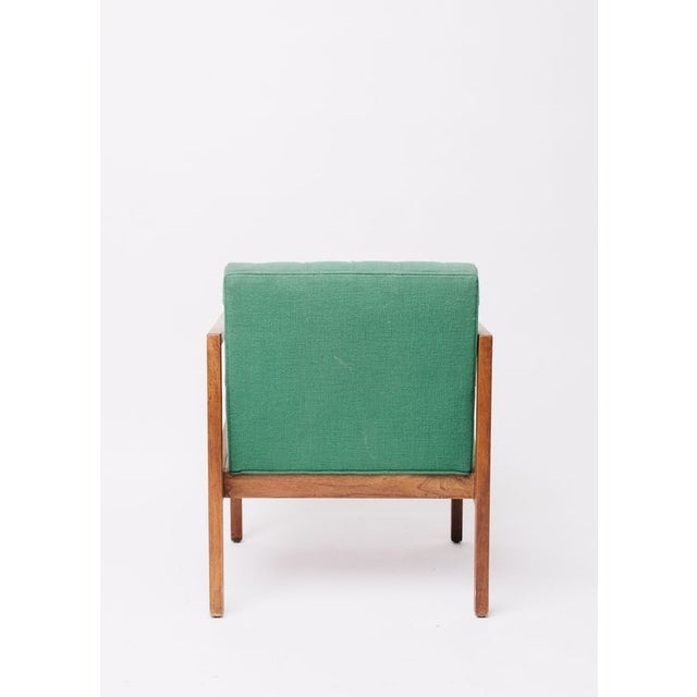 Danish Modern Vintage Green Wool Danish Arm Chairs Pair For Sale - Image 3 of 8