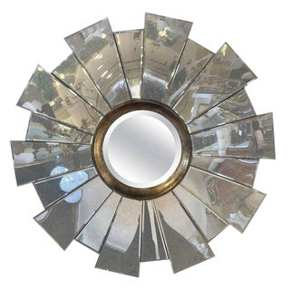 Contemporary Beveled Circular Mirror in a Mirrored Sunburst Frame For Sale