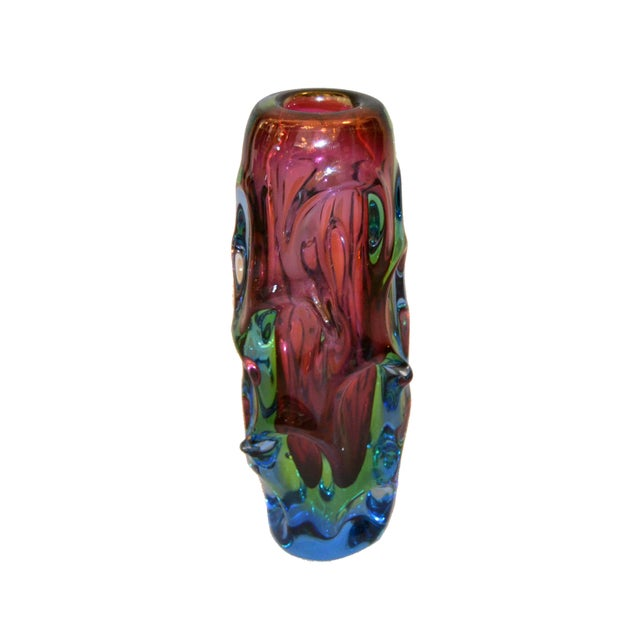 Murano Modern Sculptural Hand Blown Murano Art Glass Flower Vase For Sale - Image 4 of 10