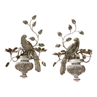 French Silver Leaf Finish Bird Sconces - a Pair For Sale