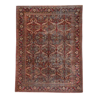 Antique Distressed Worn Out Mahal Area Rug For Sale
