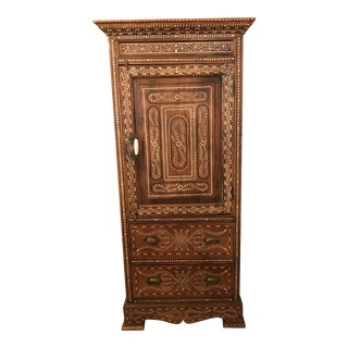 Hand-Made, Bone & Ebony Inlaid, Teak Armoire, India For Sale