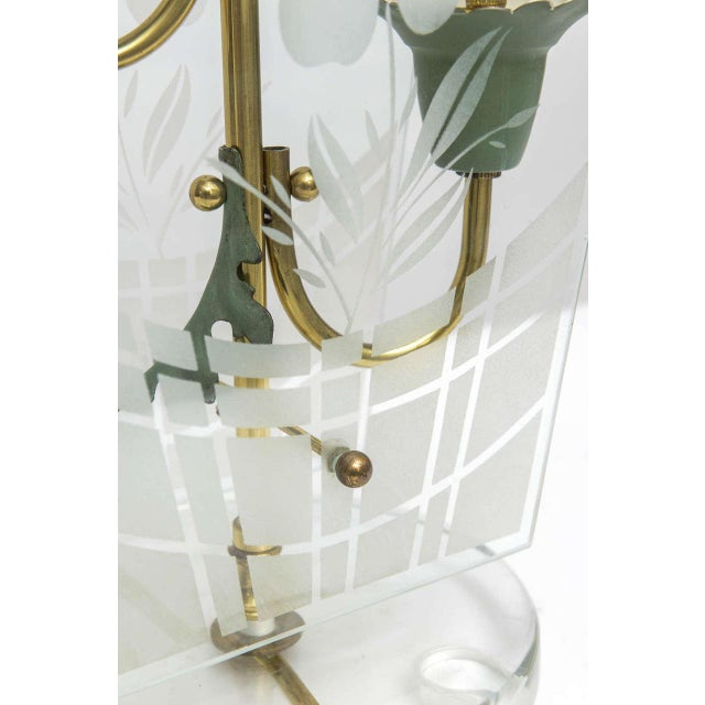 Gold Early Fontana Arte Etched Floral Motif Table Lamp For Sale - Image 8 of 9