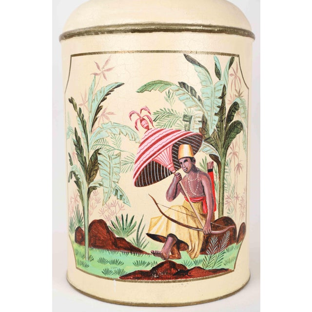 Asian Mid-Century Modern Tole English Export Tea Caddy Lamp For Sale - Image 3 of 7
