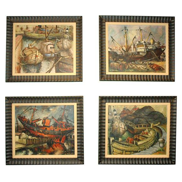 Wpa Style Ship Paintings - Set of 4 For Sale - Image 10 of 10