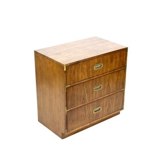 Campaign Style 3-Drawers Walnut Commode