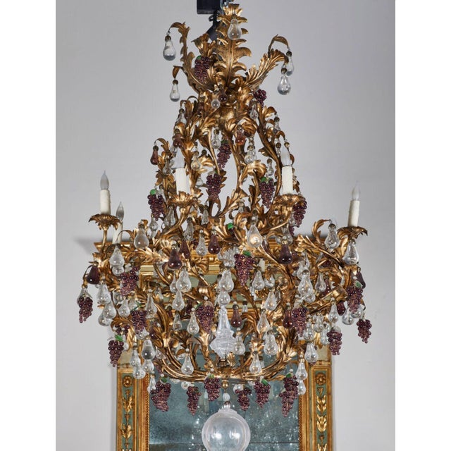 French An Elaborate French 1930s Vinegrapes & Drops Chandelier For Sale - Image 3 of 9