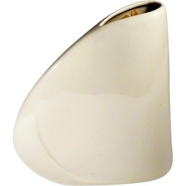 1980s Haeger White Art Deco Asymmetrical Vase For Sale - Image 5 of 5