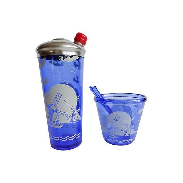 Vintage 1950s Blue Cocktail Shaker & Ice Bucket - Image 1 of 6