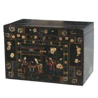 Antique Chinese Black Hand Painted Wooden Trunk From Shanxi For Sale