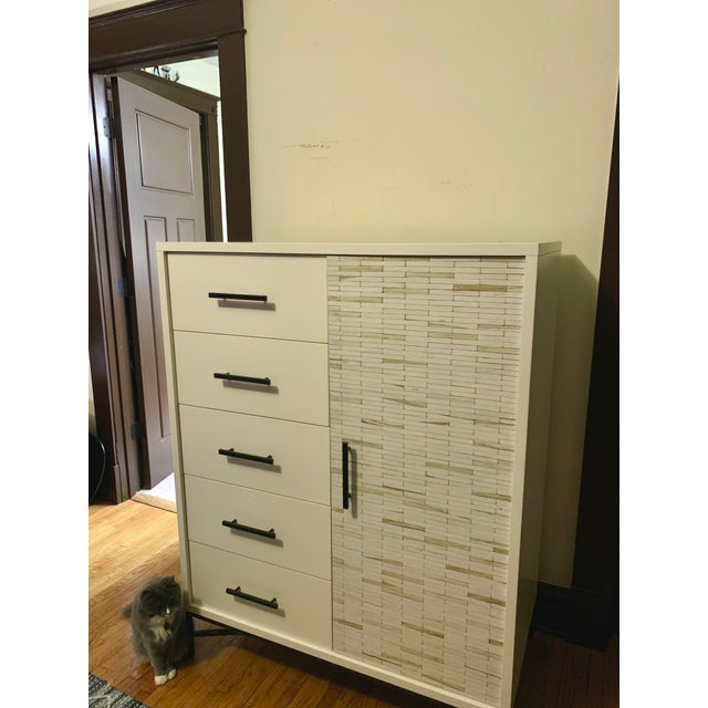 West Elm wood tiled chifforobe. One year old, barely used, excellent condition.