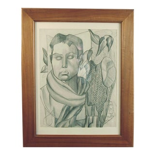 1930s Vintage Cowboy T. Cariffa Framed Drawing For Sale