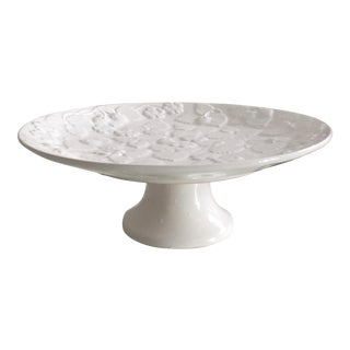 1990s Majolica White Strawberry Pattern Cake Stand, Portugal For Sale