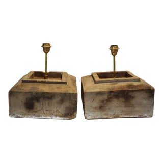 Antique Solid Hewn Wood Block Lamps-Pair For Sale