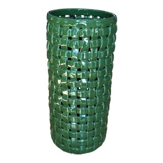 Basketweave Ceramic Green Umbrella Stand