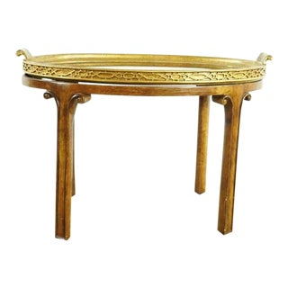 Shabby Chic Gilded Wood Oval Tray Top Table
