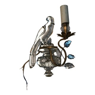 French Art Deco Maison Bagues Paris Crystal Parrot Sconce/ Wall Lamp, Left Side Face Profile For Sale