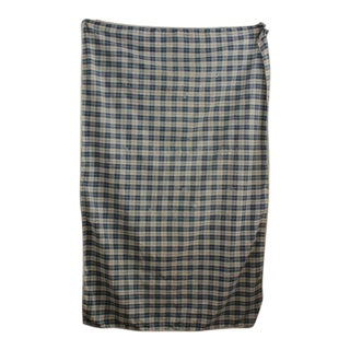 Antique French Country Indigo Blue Old Plaid Faded Primitive Timeworn Fabric Old For Sale