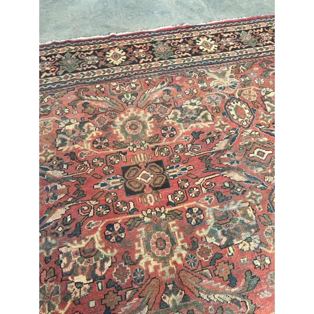 Leather 1930s Vintage Distressed Persian Meshkabad Rug - 10′4″ × 13′6″ For Sale - Image 7 of 13