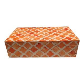 Tangerine and White Trellis Patterned Bone Box For Sale