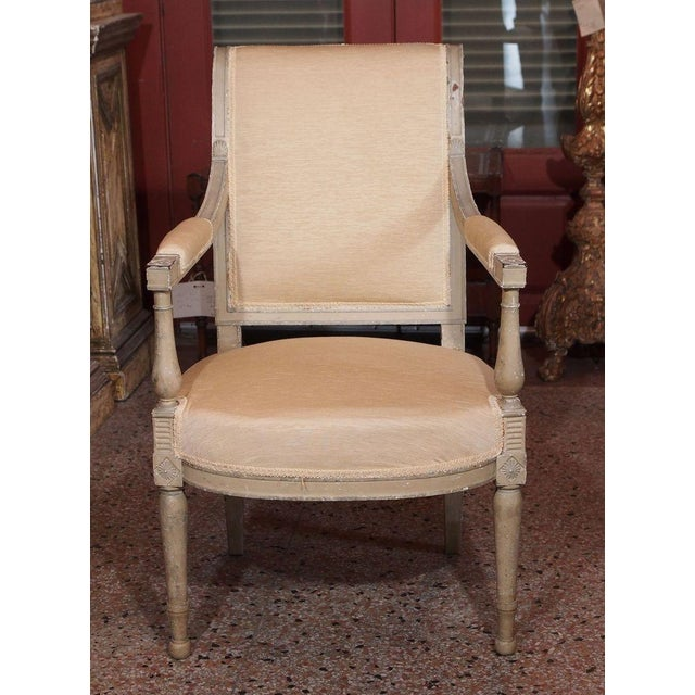 French 19th Century Painted Directoire Style Fauteuils - Pair For Sale - Image 3 of 8