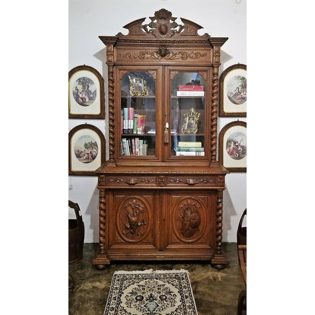 Early 19th Century French Provincial Highly Carved Oak Bookcase For Sale - Image 12 of 13