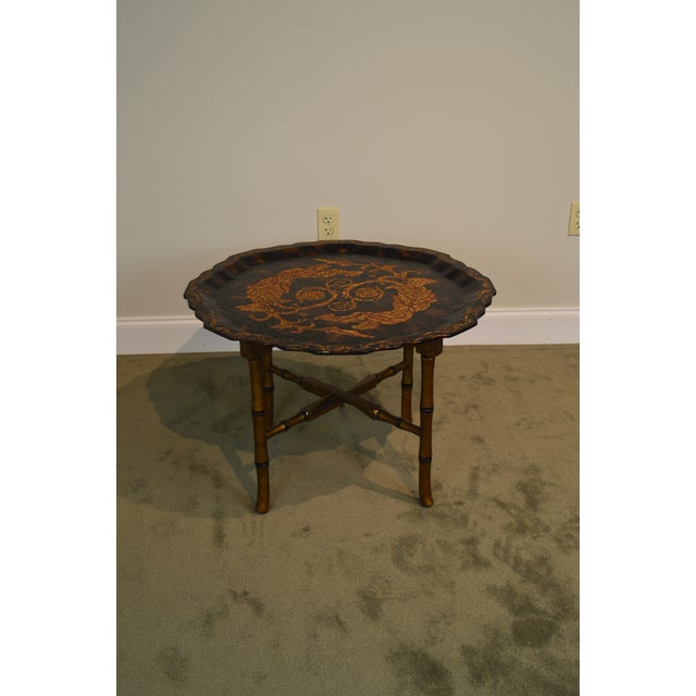 Black & Gold Crackle Painted Finish Pie Crust Tray Top Faux Bamboo Coffee Table For Sale - Image 11 of 13
