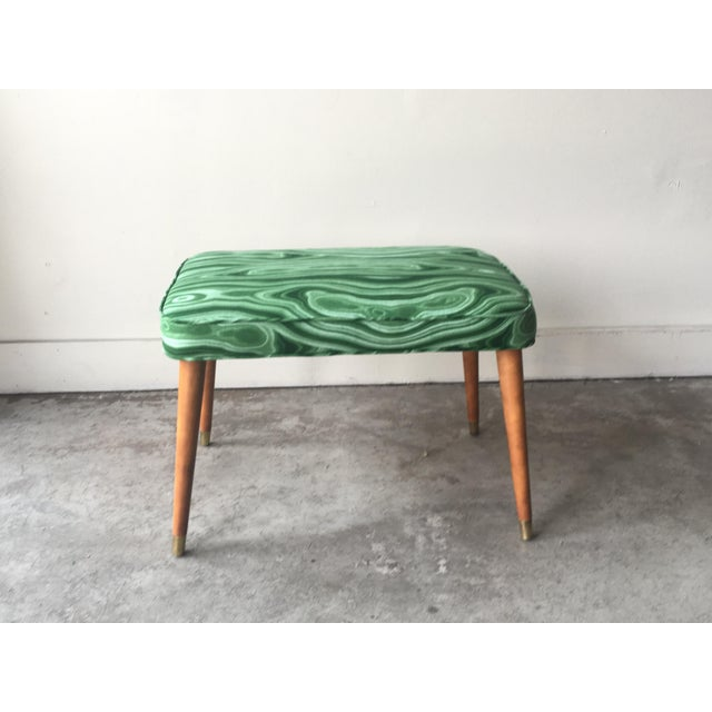 1960s Mid-Century Modern Malachite Green Upholstered Stool For Sale - Image 5 of 9