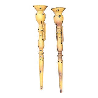 Vintage Rustic Mustard Gold Wall Sconces - a Pair For Sale