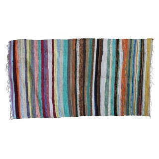 "Recycled Colorful Striped Rug - 3'4"" X 5' For Sale"