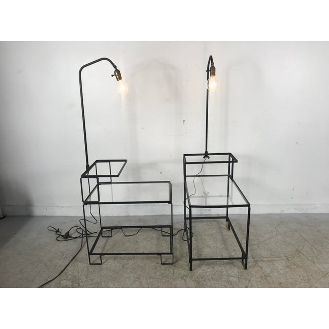 1950s Mid-Century Wrought Iron Table & Lamp Combo in the Style of Weinberg, McCobb For Sale - Image 5 of 13
