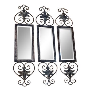 Mid 20th Century Wall Mount Beveled Mirrors-Set of 3 For Sale