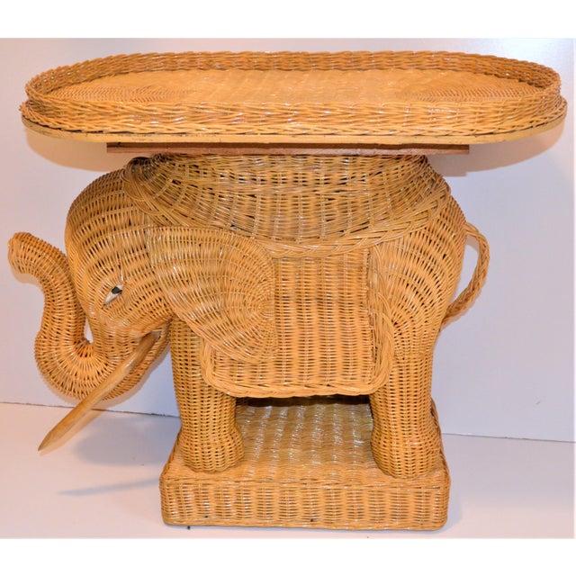 Boho Chic Wicker Rattan Elephant Tray Table (Final Markdown Taken) For Sale In Houston - Image 6 of 13