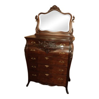 Antique French Style Mahogany Chest of Drawers With Mirror For Sale