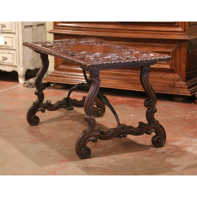 Metal 19th Century Spanish Carved Walnut and Wrought Iron Console Center Table For Sale - Image 7 of 13