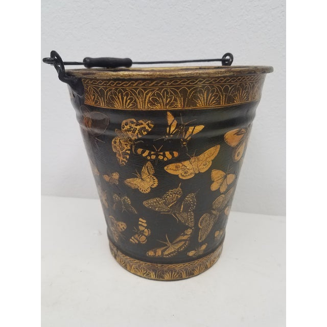 English Antique Bucket / Pail With Decoupage Butterflies - Found in Southern England For Sale - Image 11 of 11