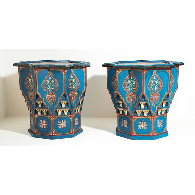Moorish Star Shape Blue Side tables - A Pair For Sale - Image 10 of 13
